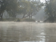 Mist rising off the river waters