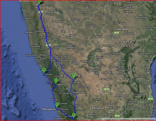 A distance of 2400 kms
